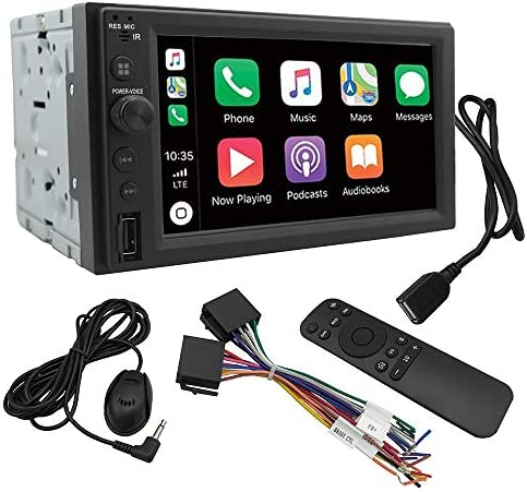 Chaowei CW6200 2Din Car Multimedia Receiver Compatible with Apple CarPlay,Android Auto,6.2 LCD Touchscreen,Bluetooth,MP5 Player,Dual USB Ports,A V Input,AM FM Car Radio