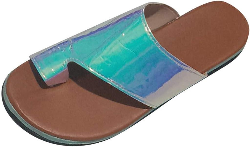 Dorical Mujere Zapatos ortopédicos Casual Verano Femeninos Ocasionales Cuero de PU Suave Sandalias de corrección Dedo Gordo pie para Mujeres Piso con Corrector ortopédico