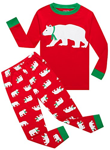 Family Feeling Christmas Bear Baby Boys Girls Long Sleeve Pajamas Sets 100% Cotton Pyjamas Toddler Infant Kids 18-24 Months Red