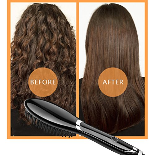 Straightening Brush Ceramic Heating Hair Straightener Brush Professional Temperature Display Styling Tools Anti-scald Comb Tooth Black and Silver Color by Mingya hair zone (Image #5)