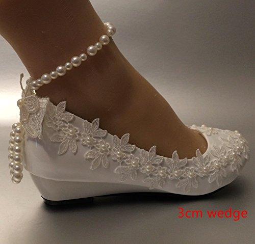 5 Perla 5 novia JINGXINSTORE 12 5 o Cu encaje tama marfil marfil 3 de zapatos US a boda cm COw4Oxfgq