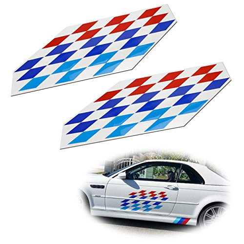 iJDMTOY (2) 22x9-Inch Iconic M Sport Flag Tri-Color Decal Stickers For BMW Side Doors, Hood Cosmetic Decoration, Made w/Reflective Material