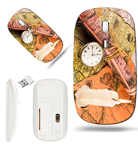 Antiquarian Map - Luxlady Wireless Mouse White Base Travel 2.4G Wireless Mice with USB Receiver, 1000 DPI for notebook, pc, laptop, macdesign IMAGE ID: 26865632 Antiquarian pocket watch and ancient world maps