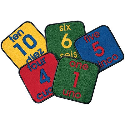 Printed Bilingual Number Kids Square Carpet Tile Rug (Set of 10)