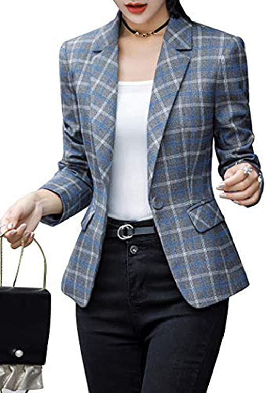 Women's Jacket Suit Top One Button Office Cardigan Casual Plaid Blazer