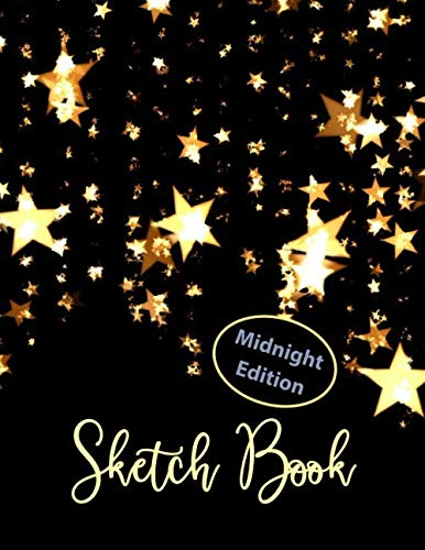 """Midnight Edition Sketch Book: 110 pages of 8.5""""x 11"""". Gold Stars Cower Design. Blank Black Paper Artist Sketchbook for sketching, drawing, doodling, ... and Metallic gel pens/markers, Gel ink pens by BIG Studios"""