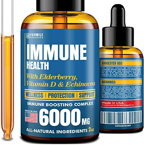 Daily Immune Support Supplement – Liquid Immunity Support – Natural Immune Booster with Elderberry Echinacea – Bioavailable Immune System Booster – Herbal Immunity Booster for Adults and Kids
