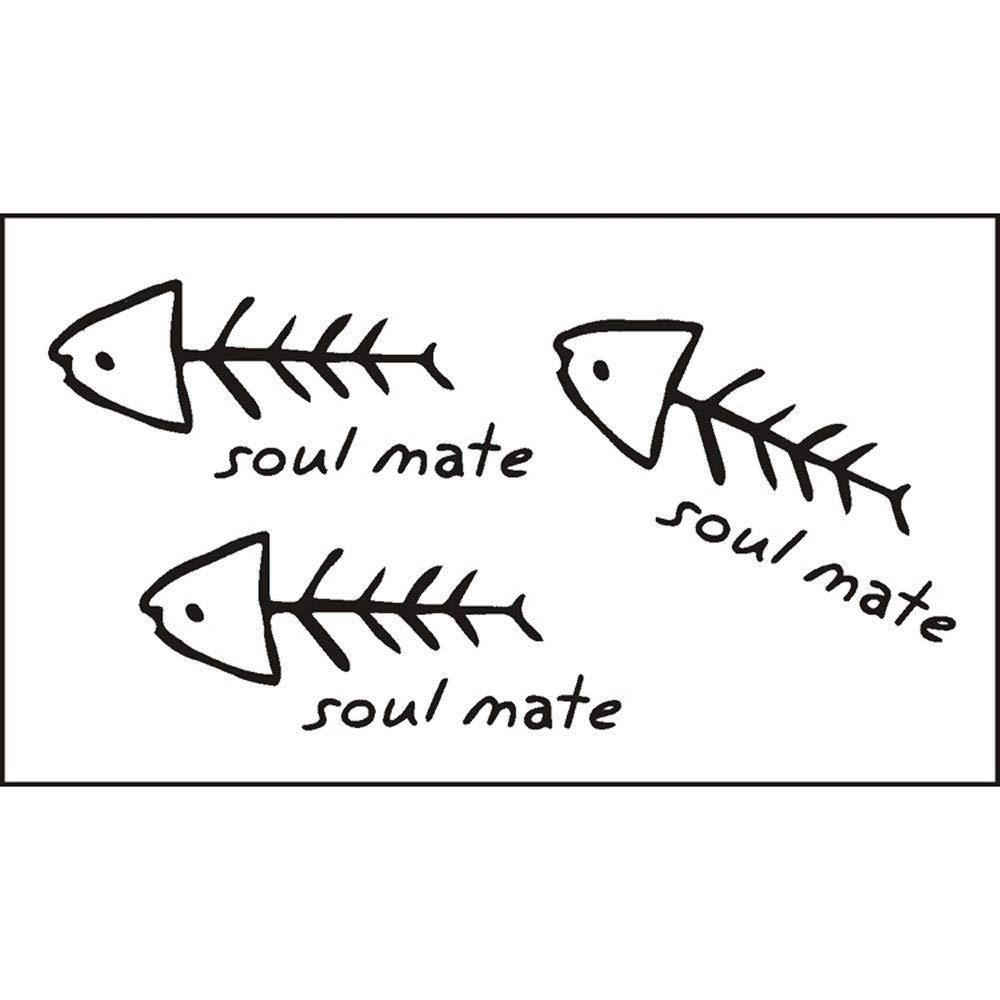 5PCS Fish Temporary Tattoos for Kids Realistic Waterproof Tattoo Stickers Fashion Non-toxic Body Art Arm Fake Tattoos for Men & Women (Black)