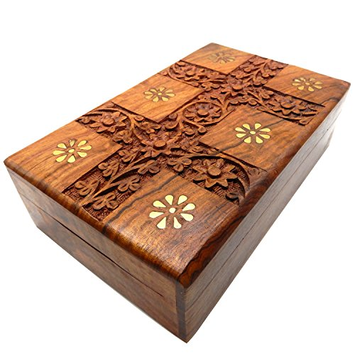 Khandekar Wooden Jewellery Box for Women Ornaments Storage Jewelry Trinket Box with Velvet Interior (6 X 4 Inch)