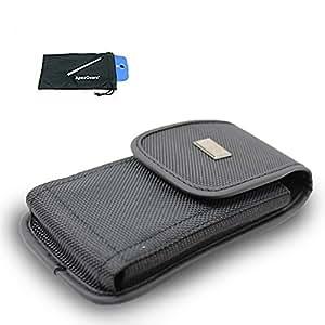 for BLU Studio Energy Canvas Pouch Belt Clip Case Cover Black Vertical Stylus Pen ApexGears (TM) Phone Bag