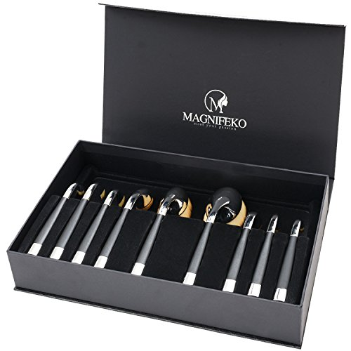Magnifeko Professional Soft 9 Piece oval makeup brush set For Powder Foundation Contour