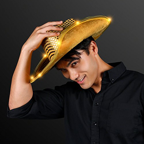 FlashingBlinkyLights Shiny Gold Sequin Light Up LED Cowboy Hat