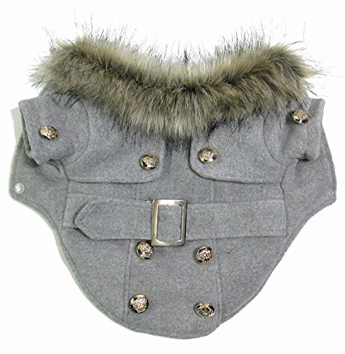 SMALLLEE_LUCKY_STORE Pet Cat Dog Clothes European Woolen Fur Collar Coat Small Dog Cat Pet Clothes Costume Light Grey XS