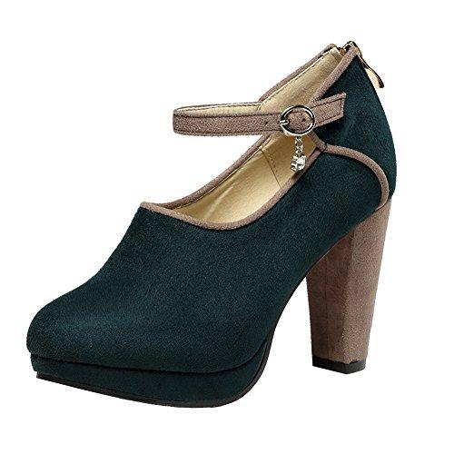 Getmorebeauty Zapatos De Mujer Zapatos De Tacón Alto Vintage Hebilla De Tobillo Mary Janes Straps Zapatos De Tacón Alto Verde