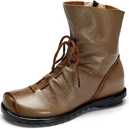Womens Genuine Leather Casual Soft Flat Boots Khaki