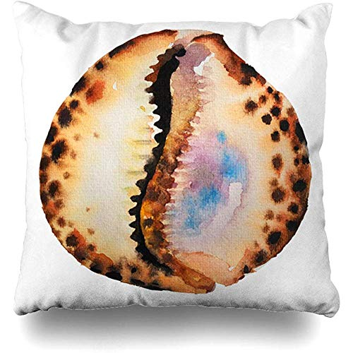 Throw Pillow Cover Cushion Case Nautical Watercolor Aqua Watercolour Painting Tiger Cowrie Sea Seashell Nature Aquatic Beach Drawing Design Drawn Home Decor Square 18x18 -