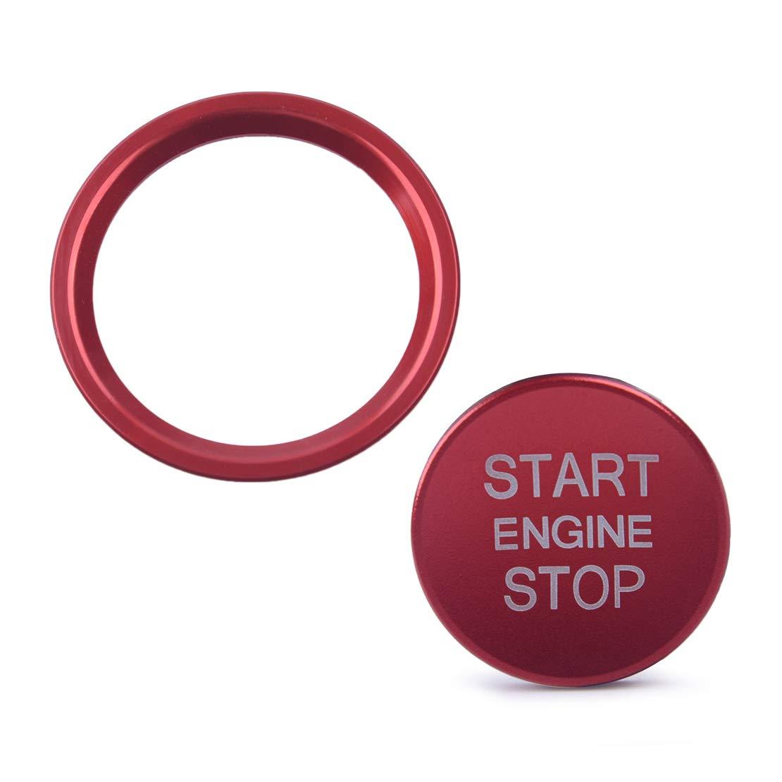 CITALL 2PCS/Set Car Motor Start Stop Schalter Drucktastenabdeckung & Ringverkleidung Aufkleber Silber sitao