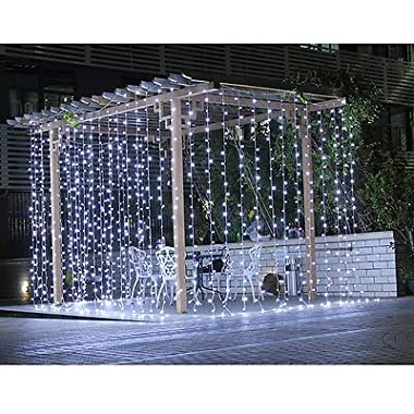 Ecandy 300led Window Curtain Icicle Lights String Fairy Light Wedding Party Home Garden Decorations 3m*3m,Cool White Lights