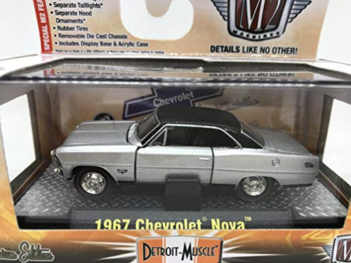 M2 Machines Detroit-Muscle 1967 Chevrolet Nova 1:64 Scale 10-13 Silver/Black Details Like NO Other! (Muscle Machines)