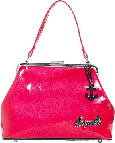 Sourpuss Brand - Raspberry Betsy Purse with Black Anchor Charm (Sourpuss Handbags)