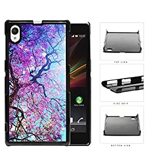 Spring Season Violet Flowers Blooming On Tree Hard Plastic Snap On Cell Phone Case Sony Xperia Z1