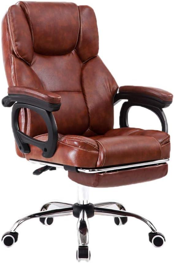 マッサージの椅子、きれいになること容易な快適で柔らかい椅子PU椅子椅子オフィスチェアコンピュータチェア会議チェアE-スポーツチェア (Color : Brown)
