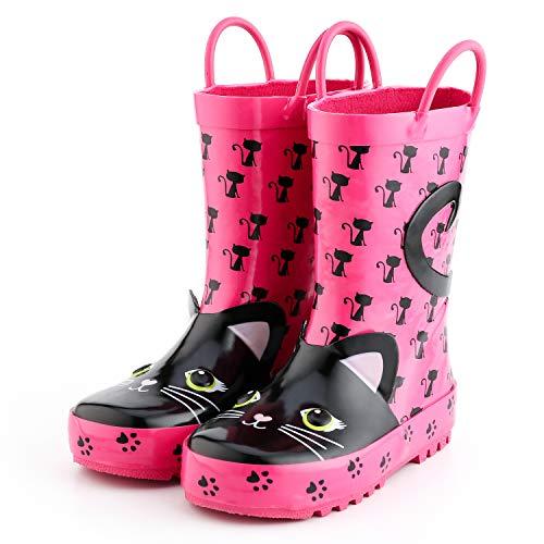 KomForme 3D Animal Kids Girl Rain Boots Pink Cat, 2 M US Big Kid ()
