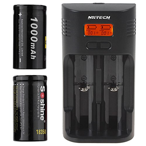 NKTECH Black SC-T2 LCD Li-ion Ni-MH LiFePO4 Battery Charger For 26650 18650 18500 16340 14500 10440 C AA AAA and 2Pcs Soshine 18350 1000mAh ()