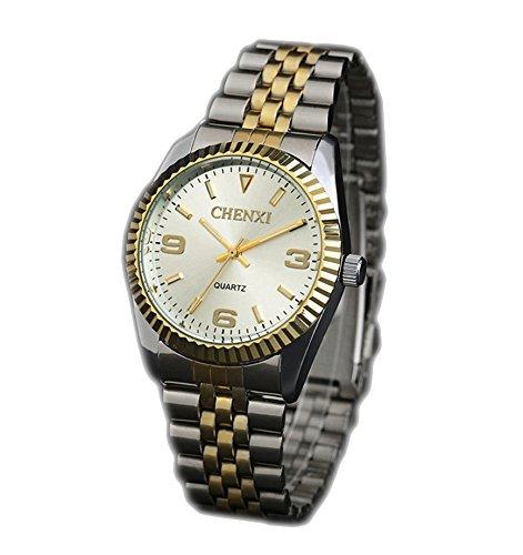 ufengke® acero de plata reloj de pulsera muñeca banda señores de lujo de oro,