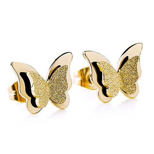 Rose Gold Cute Butterfly Stainless Steel Stud Earrings for Women Journey Jewelry Girls Gift (Yellow (Butterfly Earrings Jewelry)