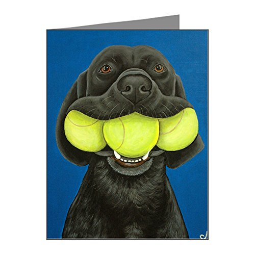 CafePress - Black Lab With 3 Tennis Ball Note Cards (Pk Of 20) - Blank Note Cards (Pack of 20) Glossy by CafePress