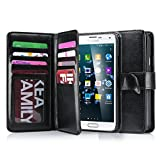 J.west Galaxy S5 Case, S5 Wallet PU Leather Multi