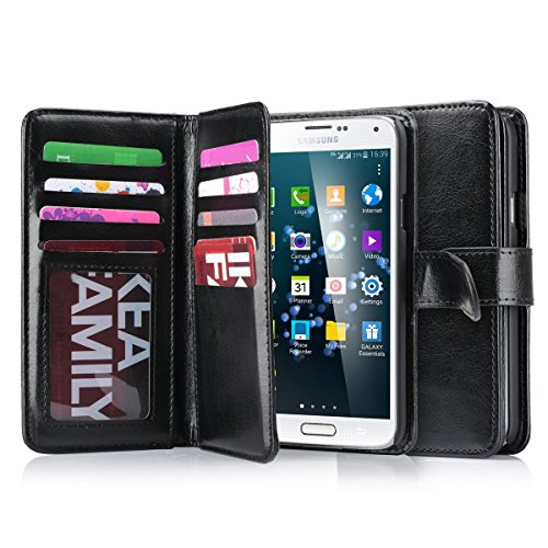 Galaxy S5 Case, S5 Wallet Jwest PU Leather Multi Card Slots Series Magnetic Wallet Case Cover for Samsung Galaxy S5 SV Galaxy S V i9600- Black (Purse Case For Samsung Galaxy S5)