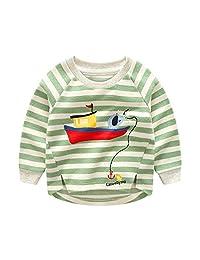 Anbaby Boys' Cartoon Striped Long-sleeved Round Neck Sweatshirt