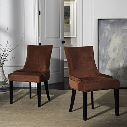 Safavieh Mercer Collection Lester Rust and Espresso Dining Chair (Set of 2), Granite (Upholstered Dining Chairs Velvet)