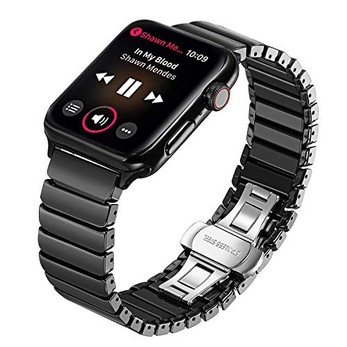 TRUMiRR for Apple Watch Band, Full Ceramic Watchband for iWatch Apple Watch 42mm 44mm Series 1 2 3 4 Replacement Band Wrist Strap Bracelet + Upgraded Adapters (No More Screws), Black ()