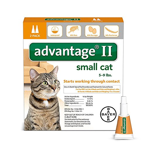 Bayer Advantage II Flea Prevention for Small Cats, 5 - 9 lbs, 2-pack (2 dose)
