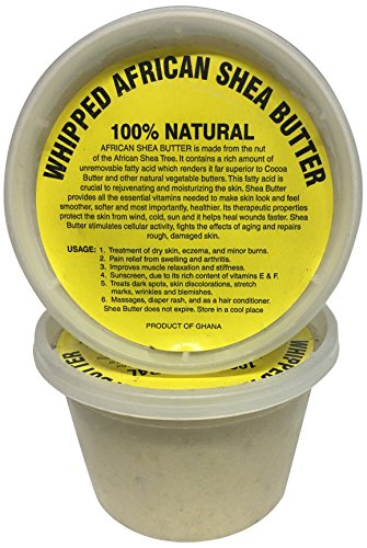 (afrikaimports Whipped African Shea Butter Creamy, White, 16 oz.)