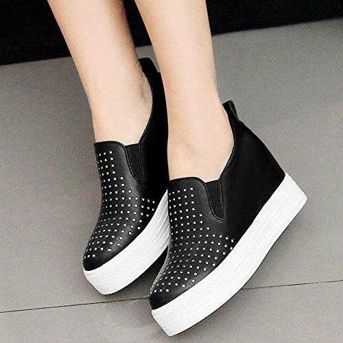 Mee Shoes Damen Hidden Heels Slip On Plateau Pumps Schwarz