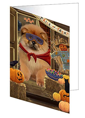 Enter at Own Risk Trick or Treat Halloween Chow Chow Dog Greeting Card GCD63284 (20)]()