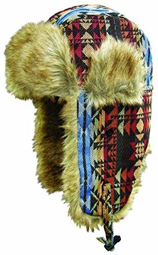 Dakota Dan Winter Trooper, Trapper, or Hunting Hat Faux Fur - Native (Hi Rise Soap)