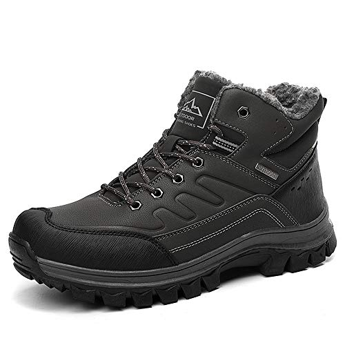 BETOOSEN Winter Men's Outdoor mid Waterproof Hiking Boot Fur Lining Warm Walking Shoes Backpacking Trekking Trails
