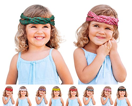 Baby Turban Headband, Hair Bands, Kids Toddler Bow Headbands, Beautiful Hair Accessories, Turban Knot Rabbit Hair Band 2 PACK (X1007D)
