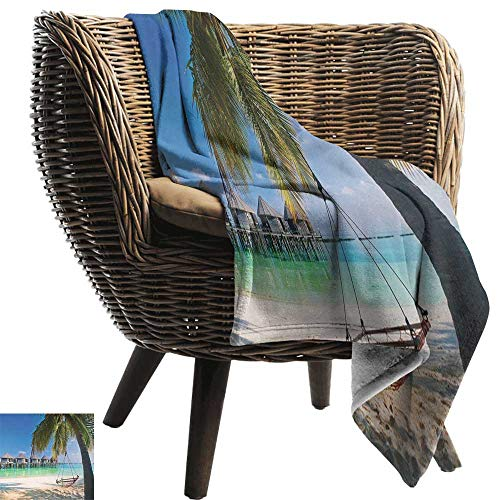 - AndyTours Wearable Blanket,Beach,Hammock Under Palm Leaves in Heaven Beach Paradise Caribbean Peace Sun Summer Print,Multicolor,300GSM, Super Soft and Warm, Durable 30