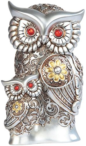 StealStreet Silver Bronze Father & Son Owl with Gems Statue, 7