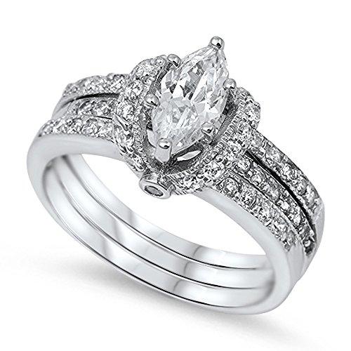 Set Bridal Design (Marquise White CZ Bridal Engagement Ring Set 925 Sterling Silver Band Size 10)
