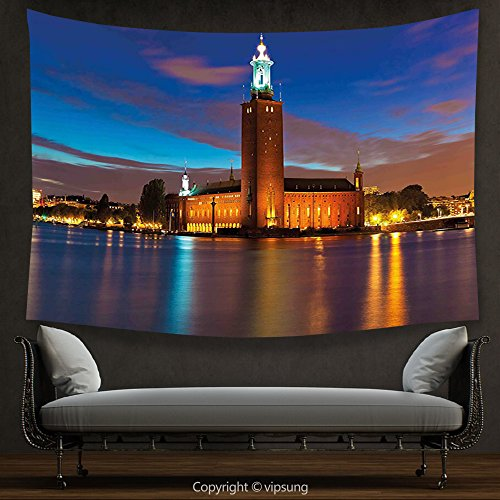 House Decor Tapestry European Stockholm Scenic Night at City Hall Old Town Enchanted Town Sweden View Blue Cinnamon Mauve Wall Hanging for Bedroom Living Room (Halloween Town City Hall)
