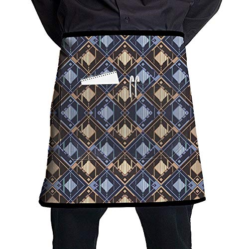 GHDSKH Disco Shirt Pattern Brown Navy 01(5013) Waist Aprons Commercial Restaurant Home Bib Spun Poly Polyester Kitchen for Unisex
