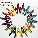 Canyoze 40Pcs Colorful Multipurpose PVC-coated Steel Wire Clip, Clothes Pins, Utility Clips Hooks for Home & Office