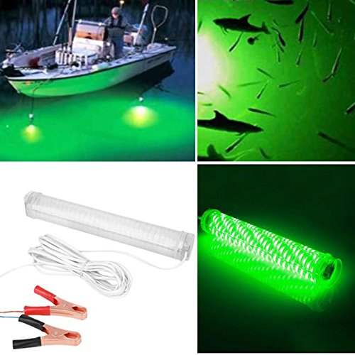 Hanbaili 12v 10W 66 LED 2000 Lumens IP68 Night Fishing Boat Submersible Deep Drop Underwater Light with Battery Clip(Green)